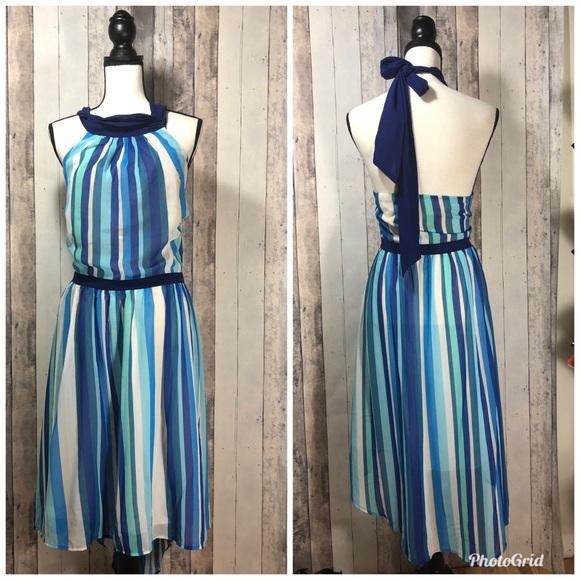 Modcloth Dresses & Skirts - Modcloth Vertical Stripe Halter High Low Dress 2x